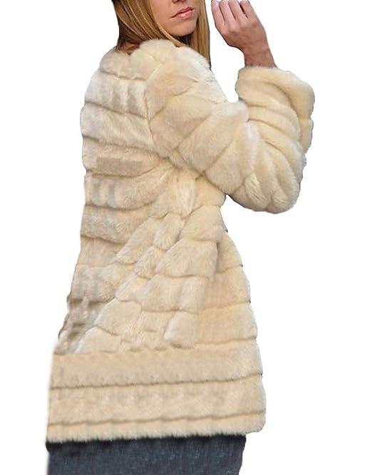 Abrigos Mujer Invierno Parka Piel Sintética Abrigados Manga Larga Cuello Redondo Cárdigans Joven Bastante Tallas Grandes Suelto Outcoat Elegantes Alta ...