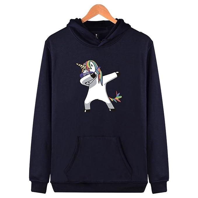 SIMYJOY Hombres Unicornio Encapuchado Camisa Pull-Over Sudadera con Capucha Cool Tops Impresión de Manga Larga Otoño Invierno Sport Streetwear para Hombres ...