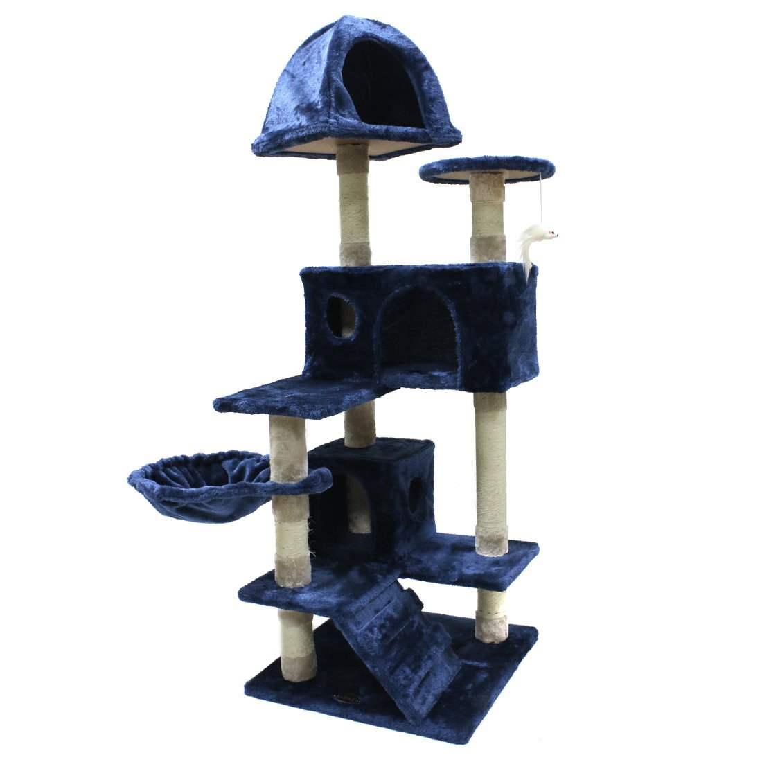 CUPETS Durable Cat Tree Cat Activity Tower Condo Pets Furniture Play House with Scratching Posts,Mouse toy, Blue