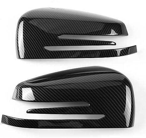 1 Pair Qiilu Rearview Mirror Cover Cap Carbon Fiber Side Mirror Caps Trim Replacement for Mercedes Benz A B C E GLA Class W204 W212