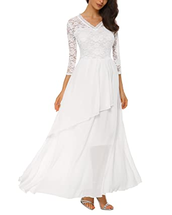 Review Women's Retro V-Neck Floral Lace Long Wedding Bridesmaid Maxi Dress with Cascading Ruffles