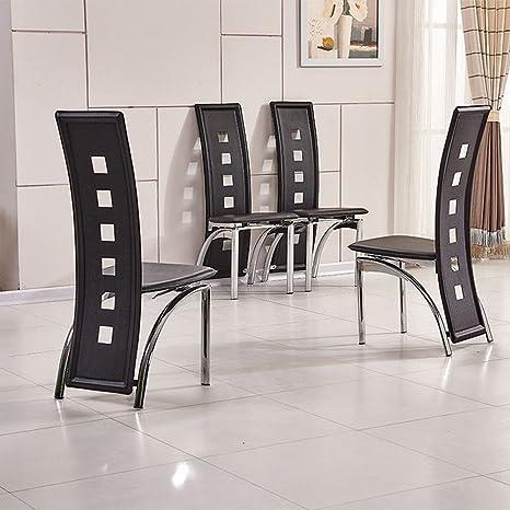 OSPI 4 x Comedor Negro de Alta Espalda sillas de Comedor de Piel sintética Agujeros Cromado