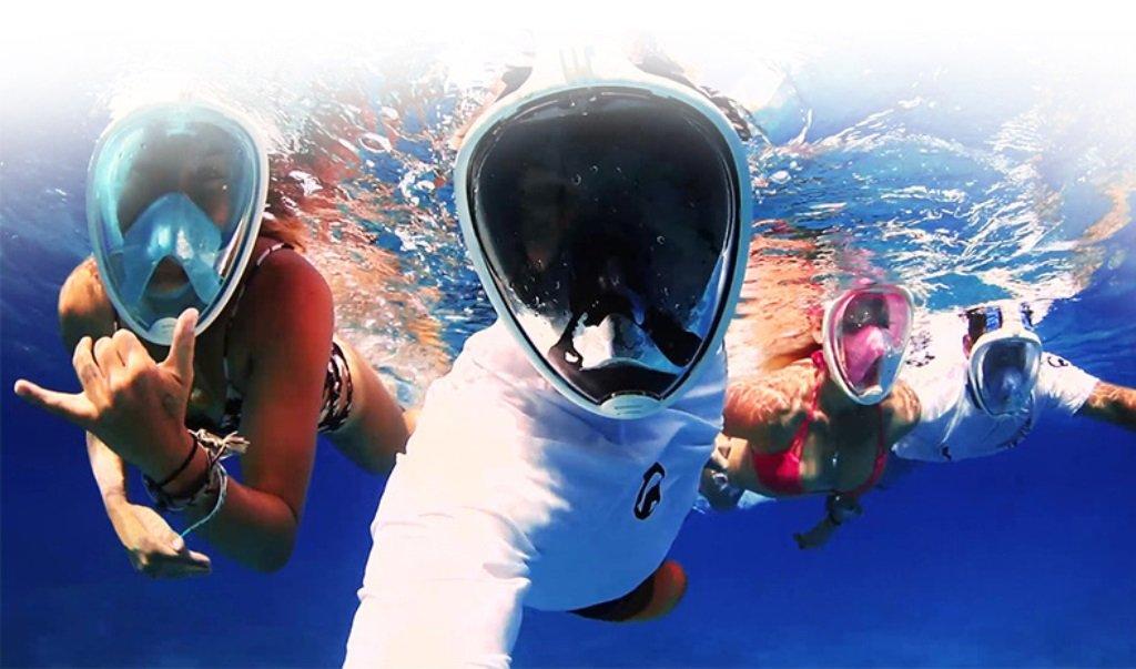 444272fd7 Máscara de Mergulho Livre Snorkeling Full Face Com Suporte Para Câmera  GoPro Tamanho L XL Cor Azul  Amazon.com.br  Eletrônicos