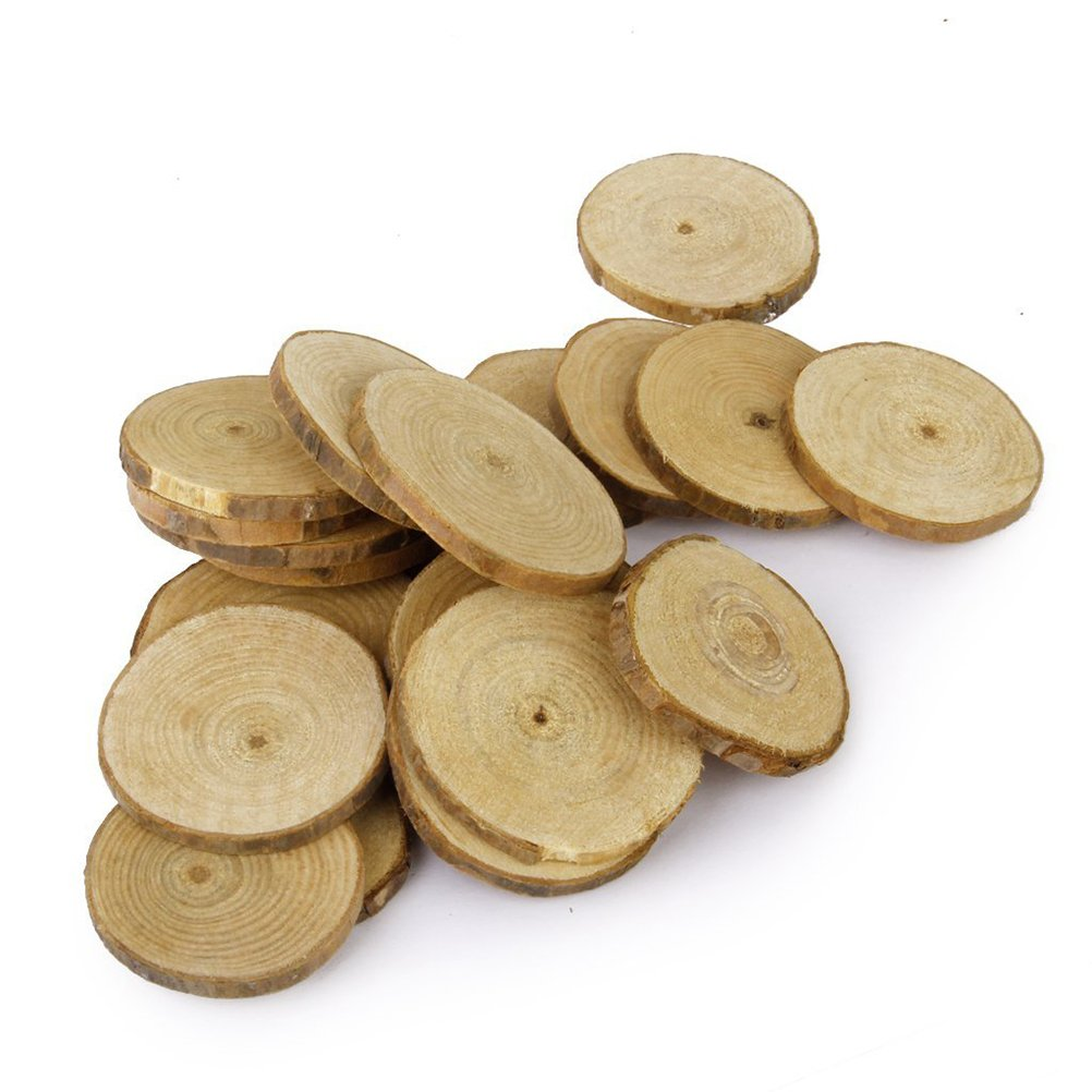 Fenical 20pcs 5-6CM Wood Log Slices Discs for DIY Crafts Wedding Centerpieces