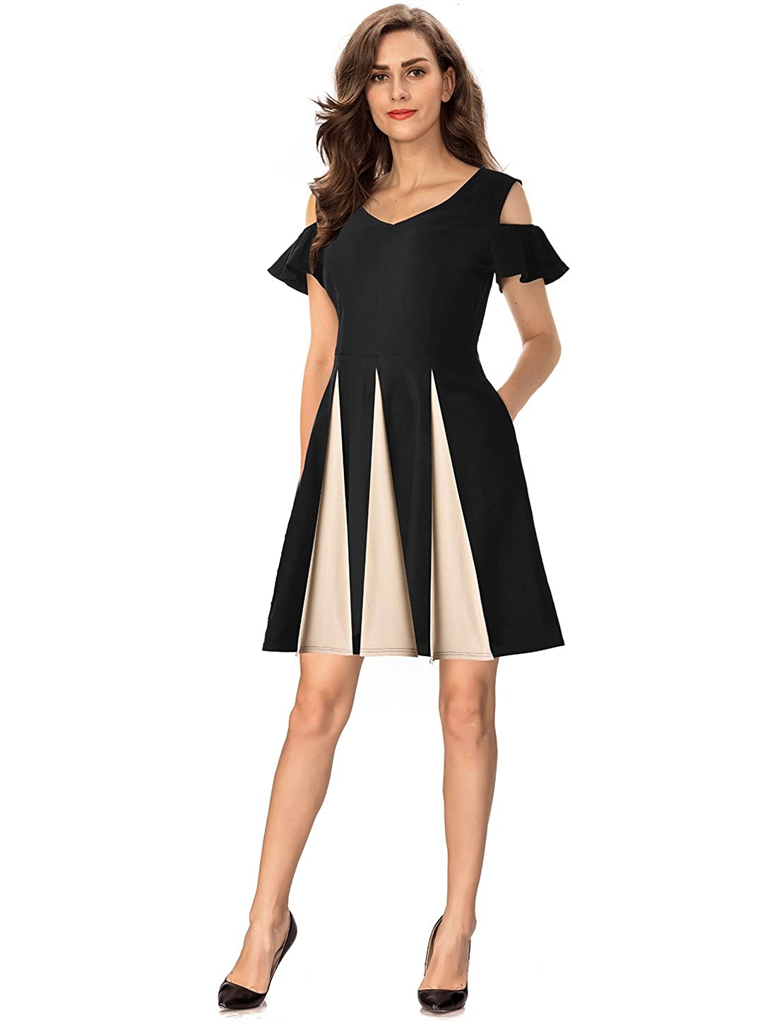07ad960b95e Top4  InsNova Women s Cold Shoulder Colorblock Big Swing Graduation Party  Skater Dress