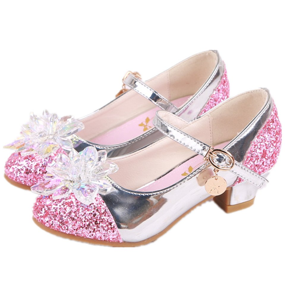 Girl's shoes Princess Cosplay Performance Shoes Sequins Dress Shoes Low Heeled (Pink 27/10 M US Toddler) by pit4tk