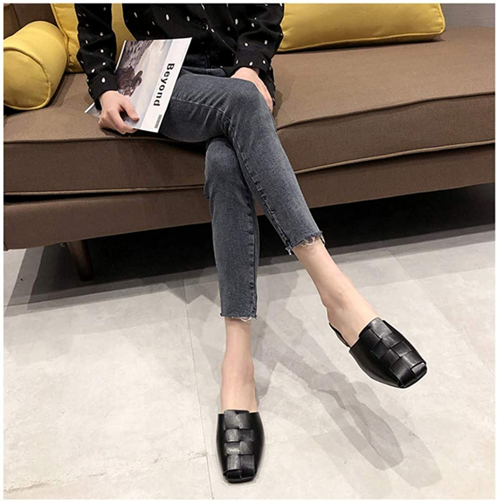 Retro Square Head Muller Shoes Female Summer Wear 2019 New Korean Version of The Wild Baotou Low Heel Woven No Heel Slippers