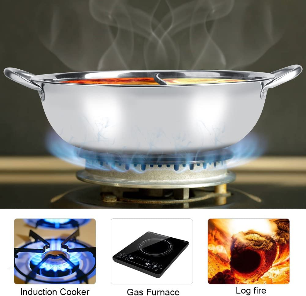 34CM Hot Pot Stainless Steel Electric Furnace Asixx 27//29//31cm Thick Stainless Steel Hot Pot Two Flavor Separation Induction Cooker Usable Safe for Induction Cooker Gas Furnace