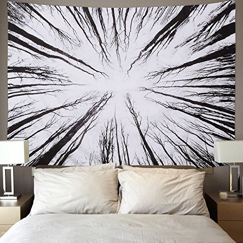 BLEUM CADE Tree Tapestry Wall Hanging 3D Vision Forest Tapestry Black and White Tapestry Growing Tree of Life Tapestry for Bedroom Living Room - Silk Tapestry Black