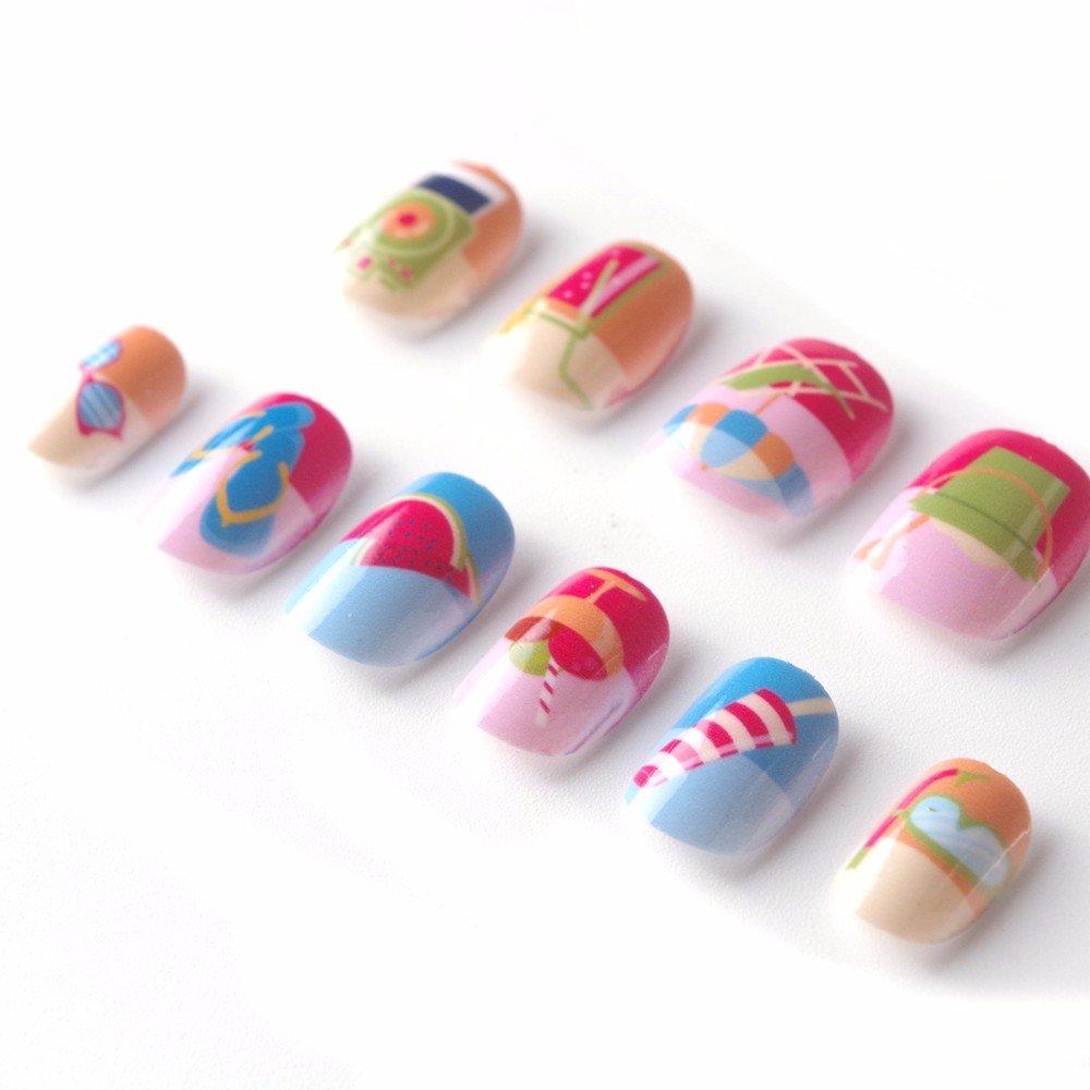 Amazon.com : Beach Kawaii False Nails for Children 5 Sizes 40 Pcs ...