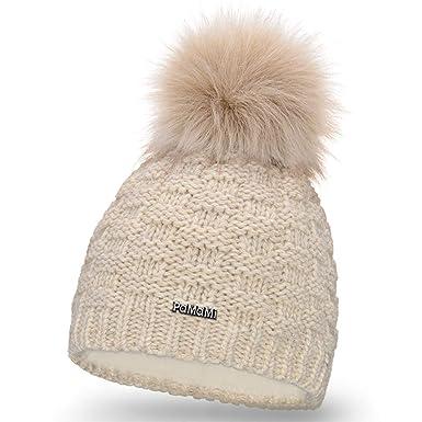 PaMaMi Ladies Winter Hat Caps Beanie with Pom Pom Skin-Friendly Winter  Sports Ski Fleece 0d6eb66cb52