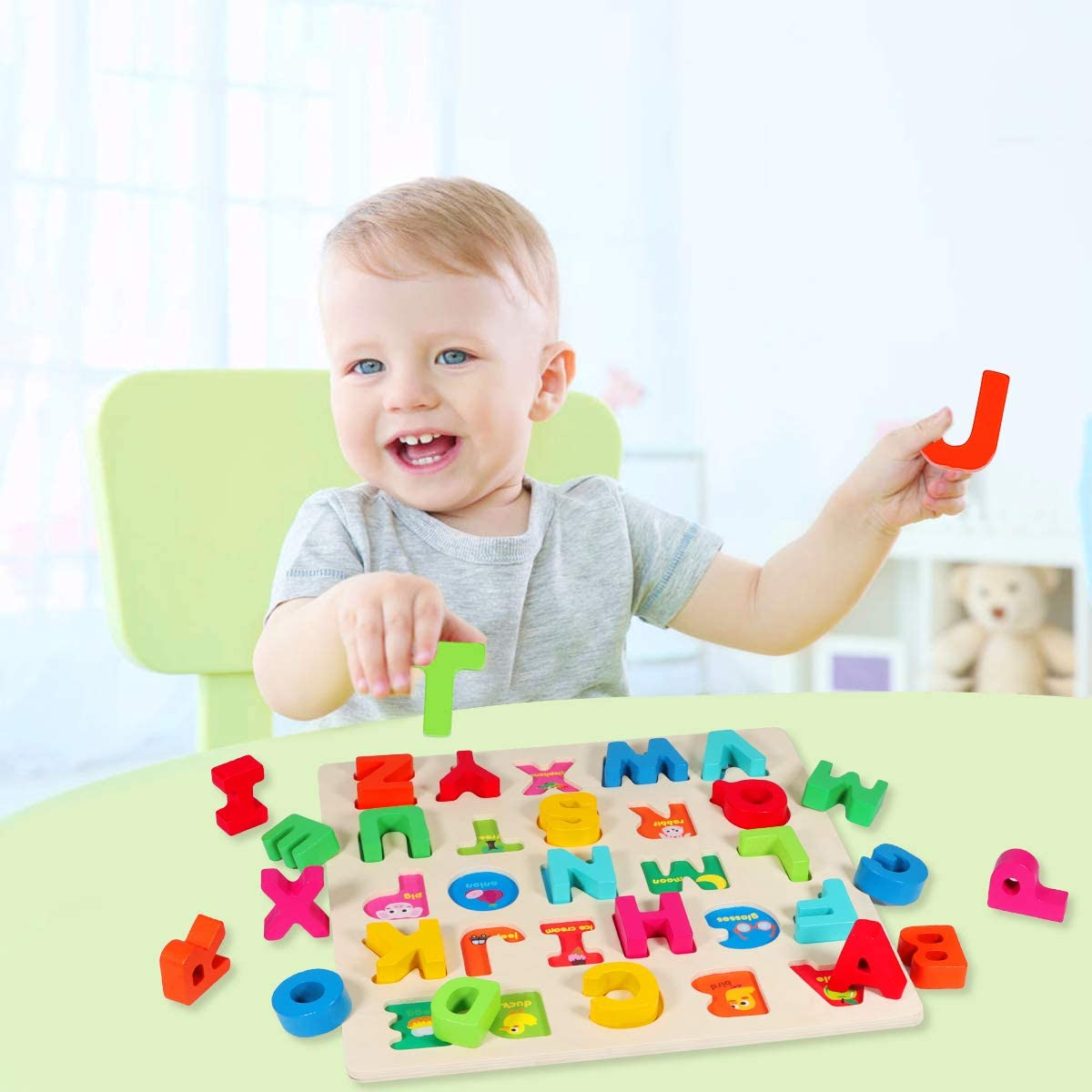 Apfity Letters Peg Board ABC Blocks Matching Game Learning Puzzles Educational Toy for Kids Ages 2 3 4 5 Wooden Alphabet Puzzle for Toddlers