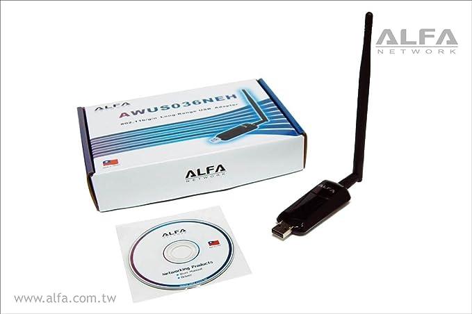 Alfa 1000mW 1W Ganancia 802.11g / n Alta (Ganancia de Antena) del Adaptador de Red Wi-Fi USB Wireless G/N Long Range WiFi - la protección contra el ...