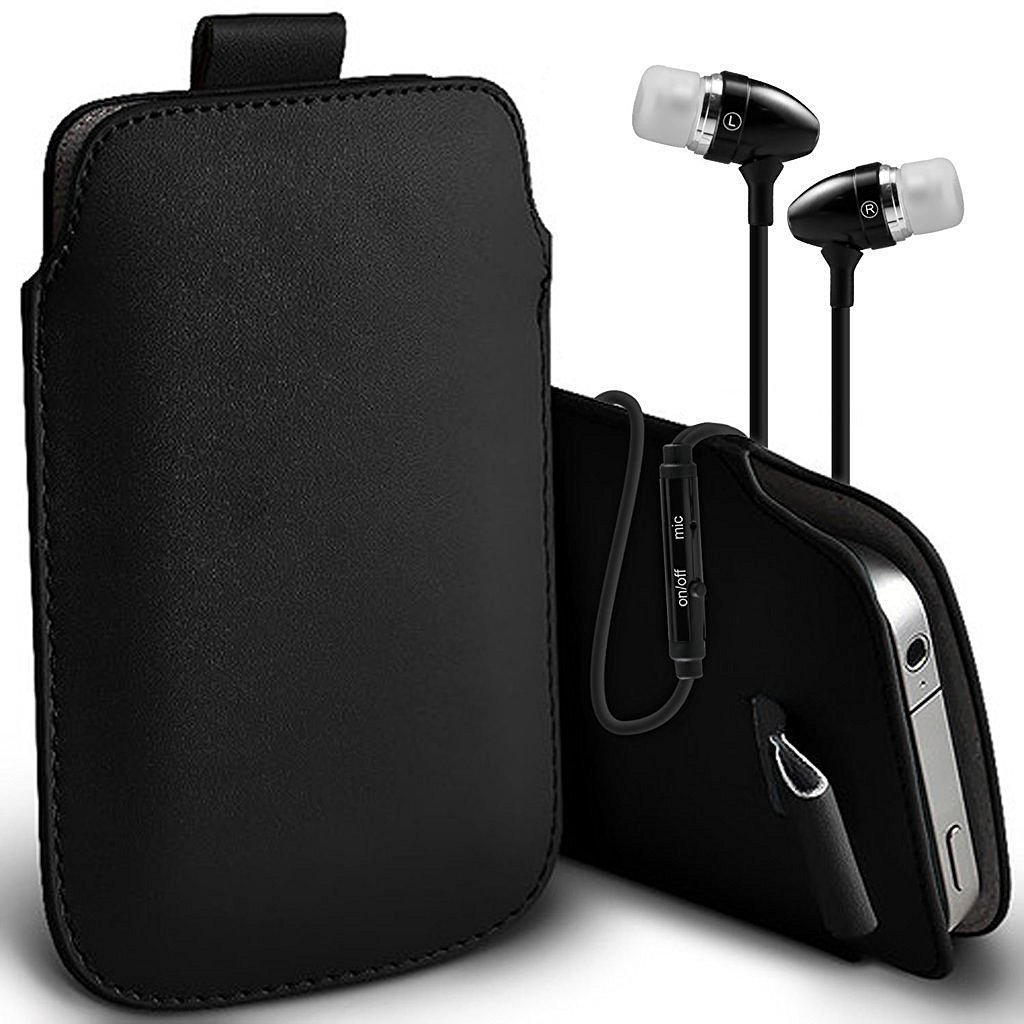 ZTE Blade v8 Pro Case Slip In Pull Tab Faux Leather Pouch Case Cover, Includes Stereo Aluminium Earphones