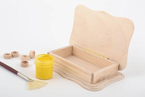 Pieza para manualidades artesanal caja de madera contrachapada con tapa