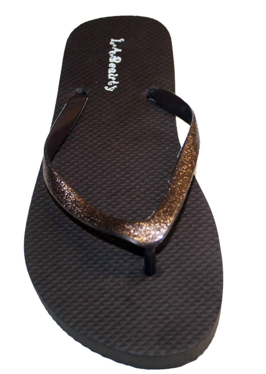 L.A. Beauty Womens Flip Flop with Glitter Straps and Comportable Footbed, Cool Looking Style-Brown_5