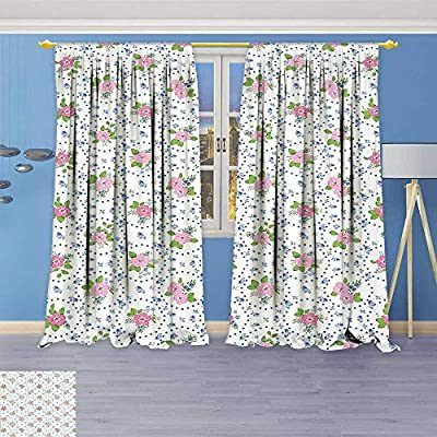 Twigs Fashion Design Print Thermal Insulated Blackout Curtain Decor Classical Peony Flowers Surrounded by Circular Bouquets Nature Romance Image Pink and with Tops for Bedroom
