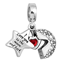 Charmed Craft I Love You to The Moon and Back Charm Moon and Star Beads for Bracelets