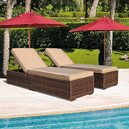 Patiorama Outdoor Patio Chaise Lounge Chair, Adjustable Pool Rattan Chaise Lounge Chair with Cushion, Espresso Brown PE Wicker,Steel Frame, 2 Piece