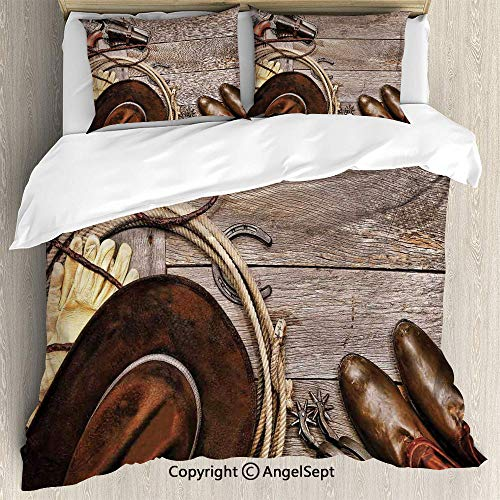 3 Piece Duvet Cover Set, Set Duvet Cover Set, Soft Microfiber Bedding Set,American Legend Cowboy Ranching Gear Retro Gun in Holster Antique Hat Rustic,Full Size,Breathable,Not easy to fade,Tan and B