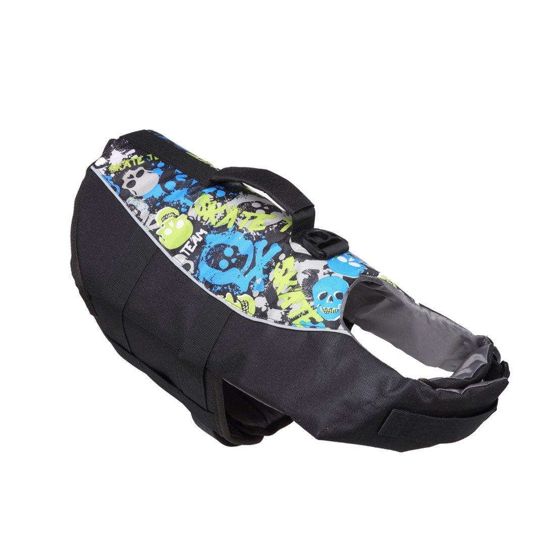 Black L (Bust 27-31\ Black L (Bust 27-31\ GabeFish Dog Patterned Life Jacket Pet Safety Swimsuit Floatation Life Vest Preserver for Small Medium Large Dogs Black Large