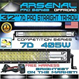 No.1 32' Pro Tri-Row Led Light Bar 405w 40500LM 7D Spot Flood Combo Beam for Off Road Jeep ATV AWD SUV 4WD 4x4 RZR CanAm