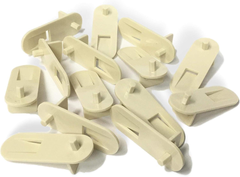 Almond//Beige // Cream 3//4 Thick Shelf Cabinet Support Locking Clips 13//16 Width 100 5mm Peg