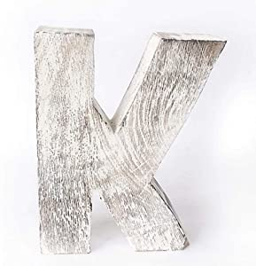 Kaizen Casa Vintage, Rustic Mango Wood Alphabet Letter K, Wall Decor, Wall Sculptures, Home, Office, Party Décor.