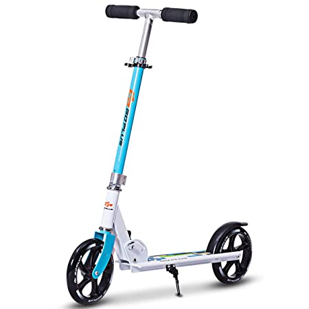 Goplus Folding Kick Scooter for Adult Teen Deluxe Aluminum Glider Adjustable Height w/Kickstand, 220lbs Capacity