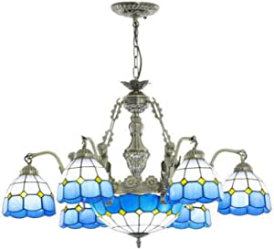 Blue Mediterranean Chandelier Multi-Arm Tiffany Style Retro Pendant Lamp Handmade Stained Glass Hanging Lighting Fixture for Living Room Bedroom Dining Room Decoration, 110-240V, 12W,6 Head
