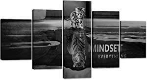 "Yatsen Bridge Cat Canvas Painting Tiger Wall Art Pictures 5 Panels Cute Animal Poster Modern Inspiring Print Artwork Wooden Home Decor for Living Room Bedroom Office Framed Ready to Hang (60""Wx32""H)"