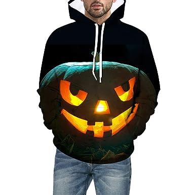 LUNULE Sudadera Hombre con Capucha, Scary Party Halloween 3D ...