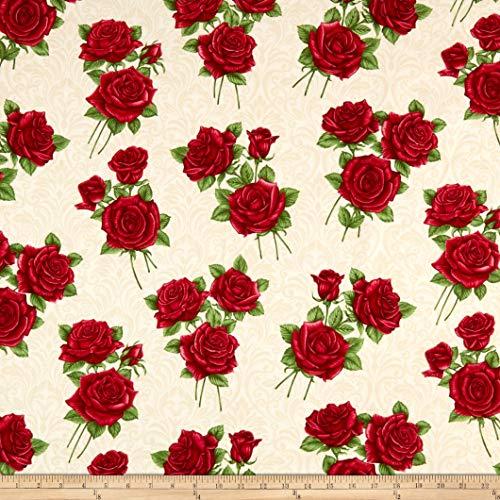 Benartex A Festival of Roses Festive Damask Roses Cream Fabric by the Yard