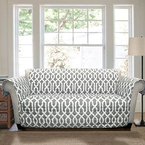 Lush Decor Edward Trellis Furniture Protector - Geometric Pattern Sofa Cover - Gray