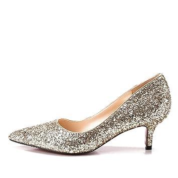 MUYII Frauen Cinderella Kristall High Heels Braut Hochzeit Schuhe Feine Stiletto Glitter SandalenGold-5.5CM-33