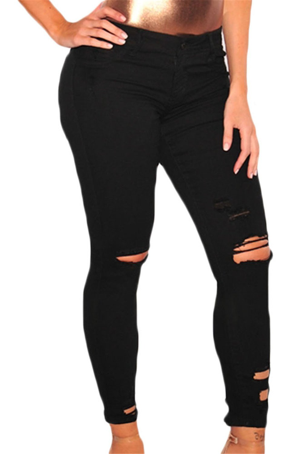 Just for Plus Women's Black Denim Destroyed Ankle Length Skinny Jeans Long Length Ripped Hole Trousers Pants,L
