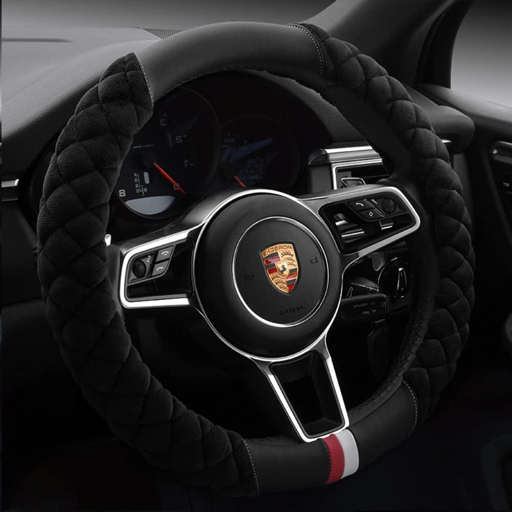 38CM Velvet Steering Wheel Cover Winter Warm Plush Fluffy Wheel Protector Black