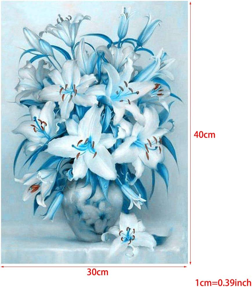 Youliy Kit de broderie diamant 5D en forme de fleur de lys bleus broderie au point de croix d/écoration murale 30 x 40 cm