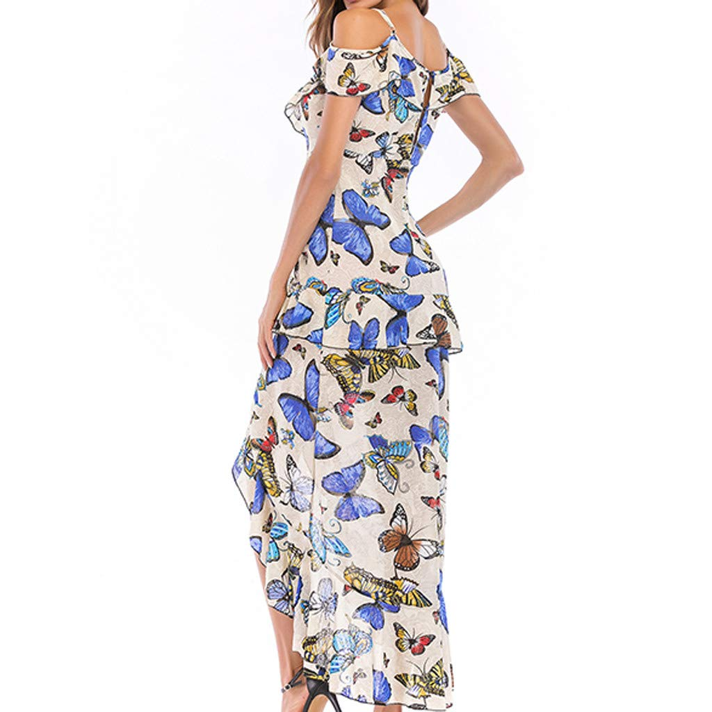 Alangbudu Women Casual V-Neck Floral Geometric Spaghetti Strap Cold Shoulder Midi High Low Ruffle Hem Layered Look Dress