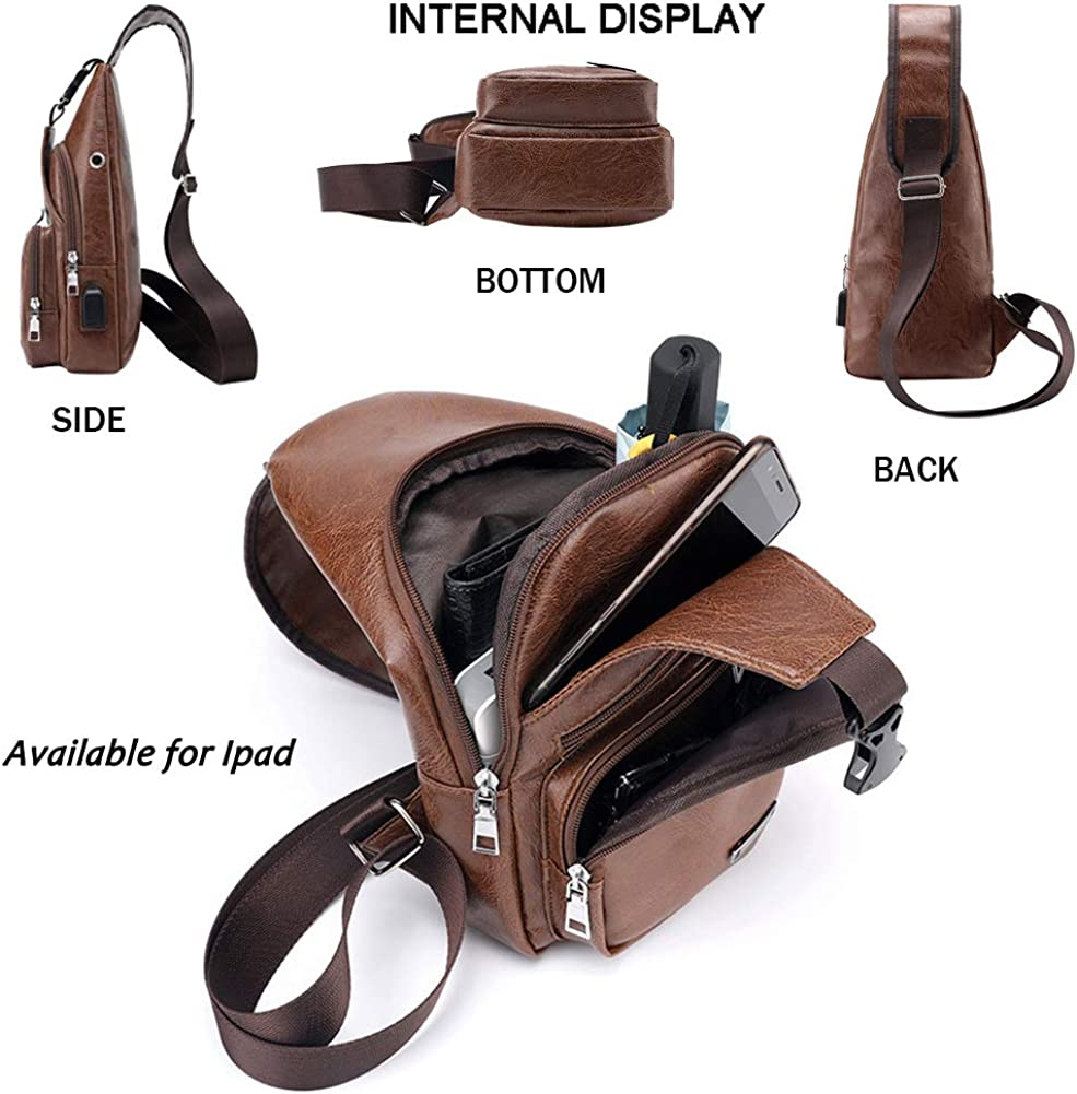 Leather Sling Bag with USB Charging Port Large Mens Crossbody Shoulder Bag Travel Sling Chest Bag
