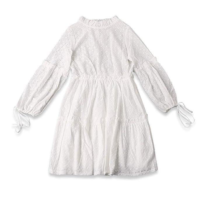 Womens Lace Dress Casual Loose High Neck Ruffles Long