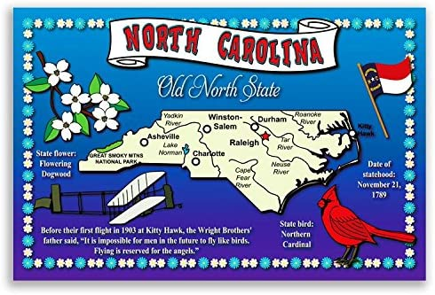 Amazon Com North Carolina State Map Postcard Set Of 20 Identical Postcards Post Cards With Nc Map And State Symbols Made In Usa Office Products