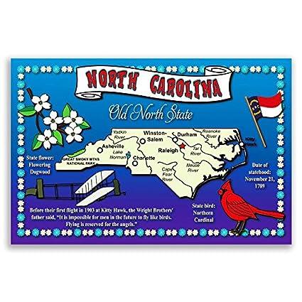 Amazon North Carolina State Map Postcard Set Of 20 Identical