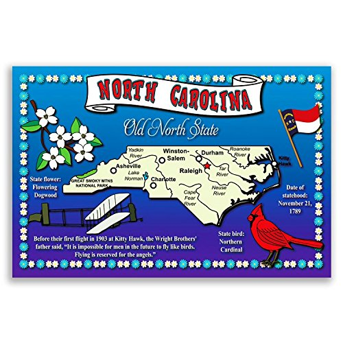 NORTH CAROLINA STATE MAP postcard set of 20 identical postcards. Post cards with NC map and state symbols. Made in ()
