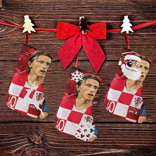 クリスマスの日の靴下 (ソックス3個)クリスマスデコレーションソックス クロアチアサッカーLuka Modric クリスマス、ハロウィン 家庭用、ショッピングモール用、お祝いの雰囲気を加える 人気を高める、販売、プロモーション、年次式