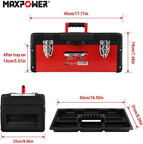 MAXPOWER Tool Box 17 Plastic and Metal Portable Organizer Tool Box for Tool or Craft Storage,Locking Lid and Extra Storage