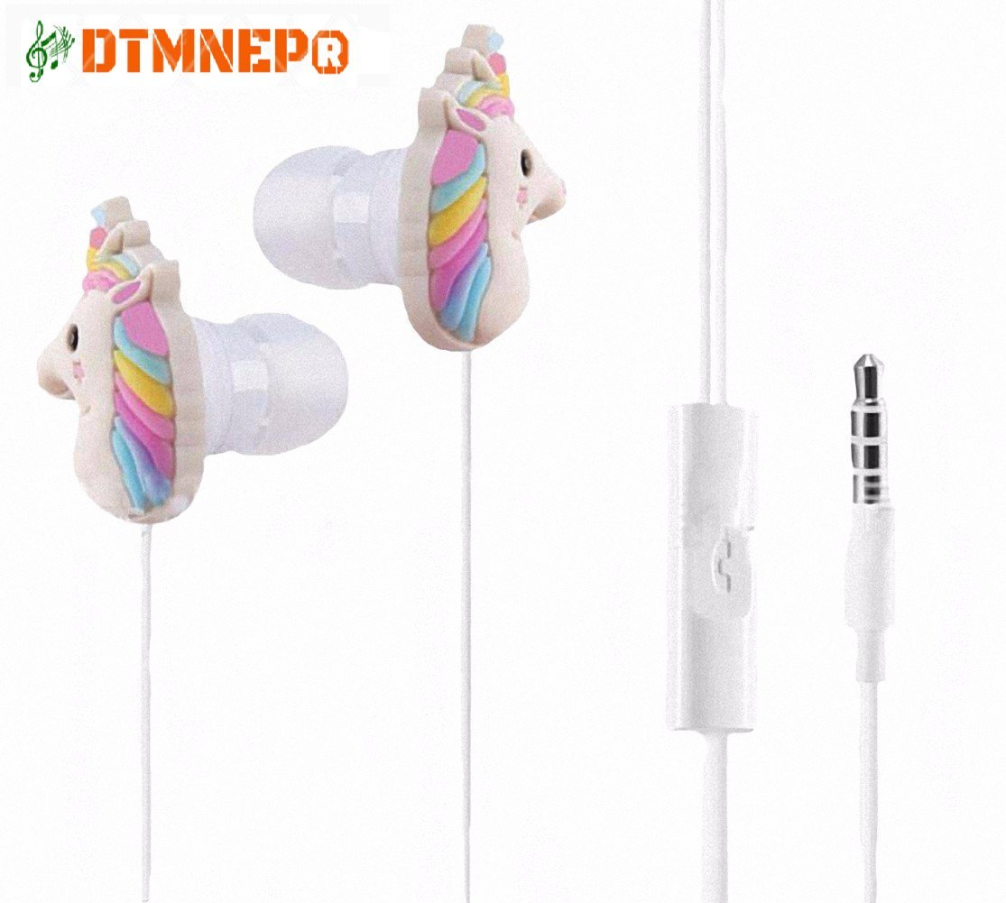 Cartoon Earphone Best gift Animal Unicorn Earbuds Headphones suitable to Remote and Mic for Apple Samsung HTC Android smartphones Tablets hands-free/in-ear style earbuds of Electronics Wired 3.5 mm by DTMNEP