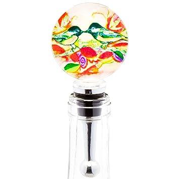 LS Arts – pájaros conexión tapón para botella de vino de cristal soplado