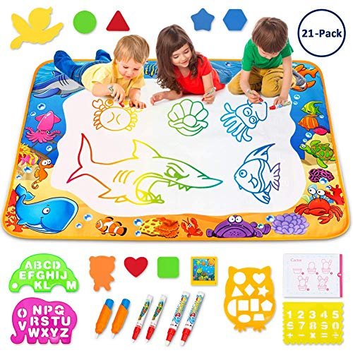Toyk Aqua Magic Mat - Kids Painting Writing Doodle Board Toy - Color Doodle Drawing Mat Bring Magic Pens Educational Toys for Age 1 2 3 4 5 6 7 8 9 10 11 12 Year Old Girls Boys Age Toddler Gift -