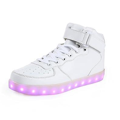 SAGUARO Herren Damen LED Sport Schuhe 7 Farbwechsel USB Leuchtend Sportschuhe  Sneaker Turnschuhe, Hoch Weiß 57585c1e6a